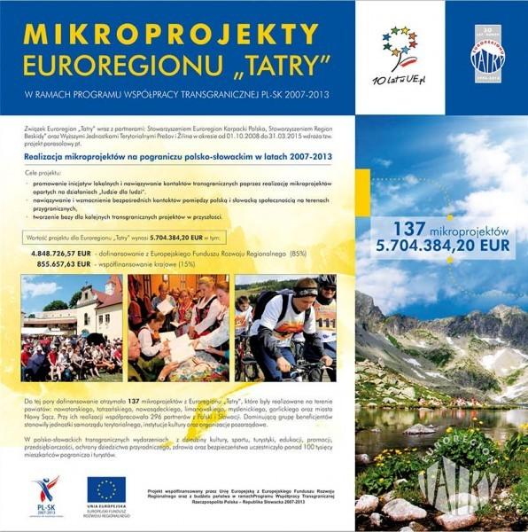 """Zaproszenie na wystawę prezentującą mikroprojekty wdrażane w Euroregionie """"Tatry"""" w ramach PWT PL-SK 2007-2013"""