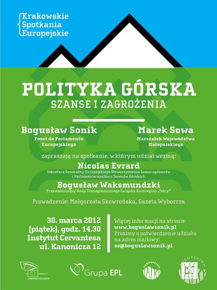 Zaproszenie na Krakowskie Spotkania Europejskie - Polityka górska. Szanse i zagrożenia