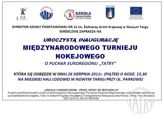 """Międzynarodowy Turniej Hokejowy o Puchar Euroregionu """"Tatry"""""""