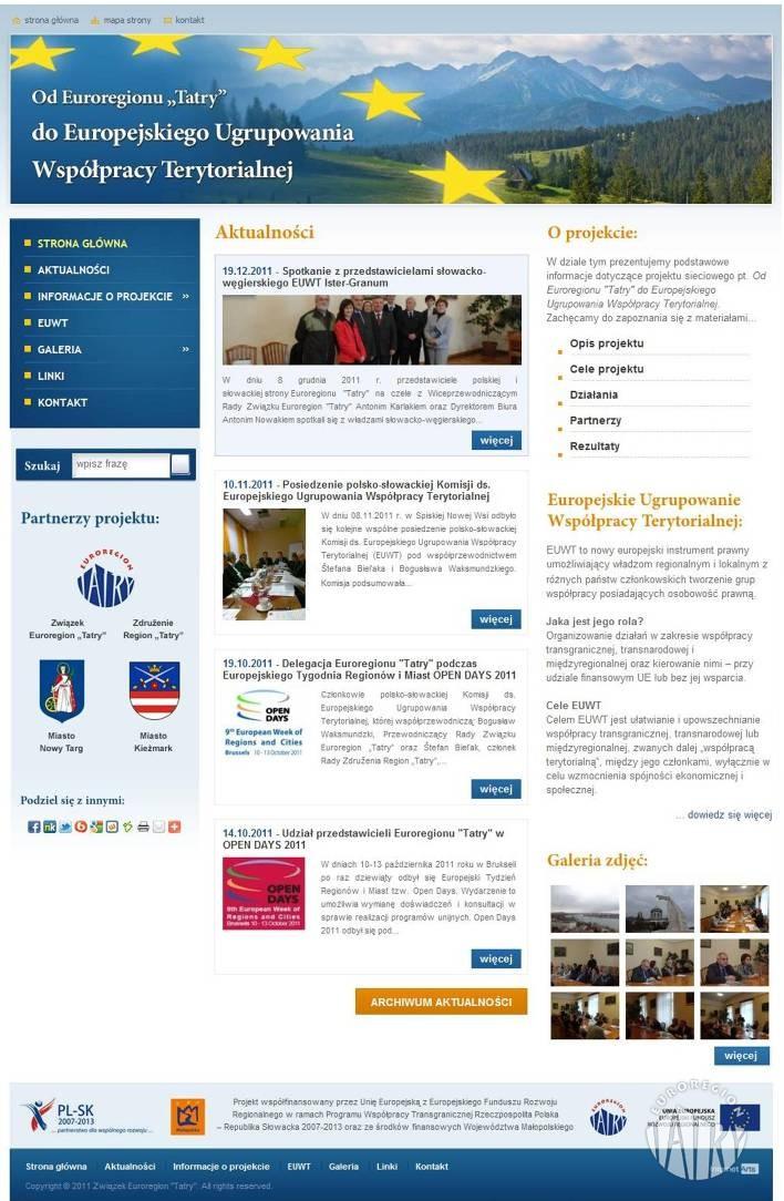 """Nowa strona internetowa projektu """"Od Euroregionu """"Tatry"""" do Europejskiego Ugrupowania Współpracy Terytorialnej"""""""